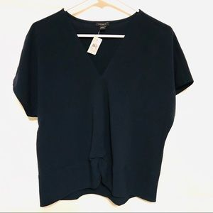 Navy Blue Ann Taylor Factory S twist front top